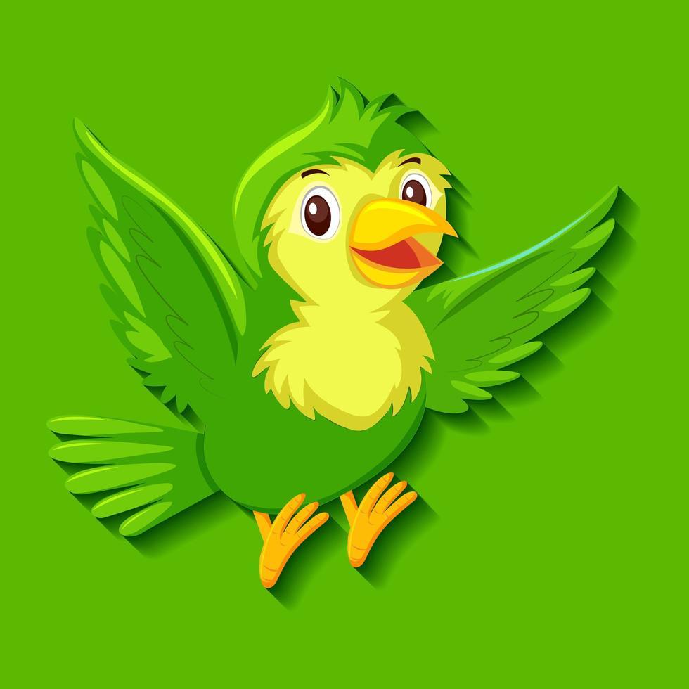 personnage de dessin animé mignon oiseau vert vecteur