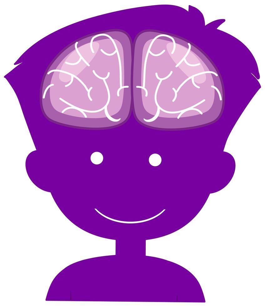 Cerveau signe dans le garçon de la tête dans le thème de la journée mondiale de la maladie d'Alzheimer isolé sur fond blanc vecteur
