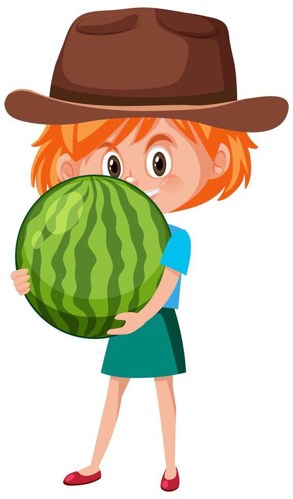 personnage de dessin animé enfants tenant des fruits ou des légumes isolé sur fond blanc vecteur