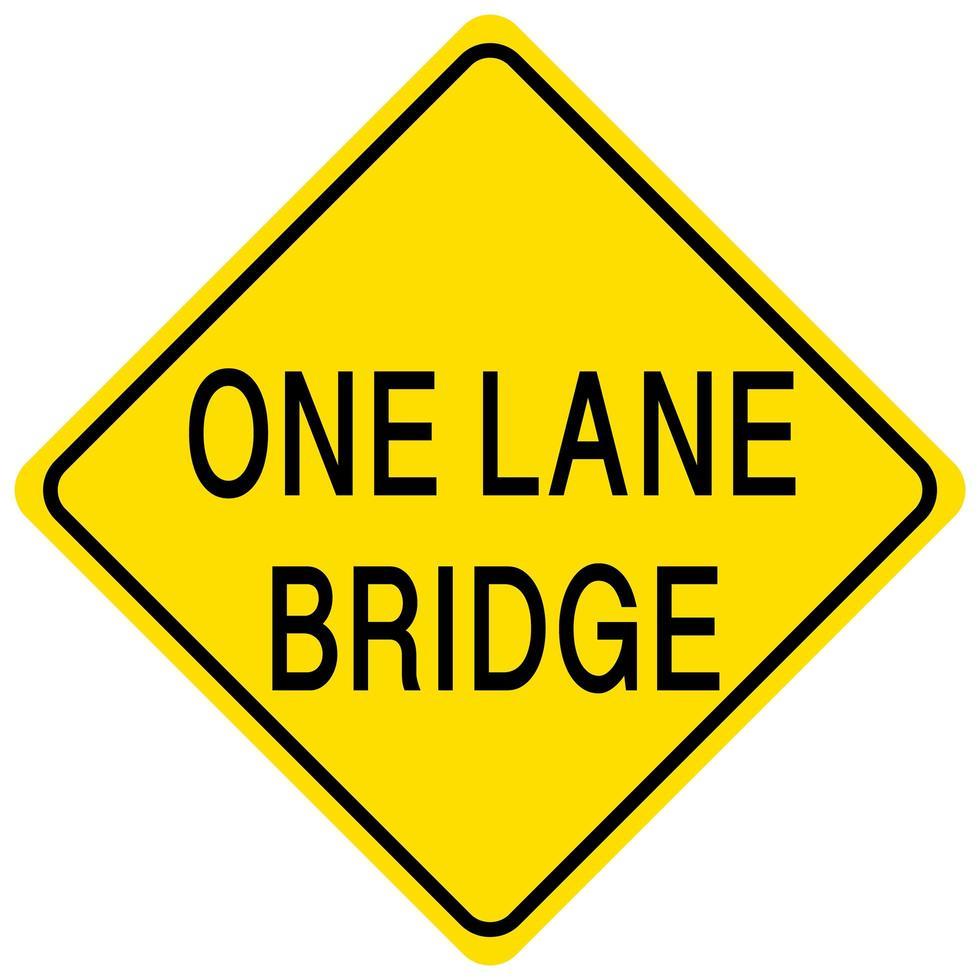 Pont à une voie panneau jaune sur fond blanc vecteur