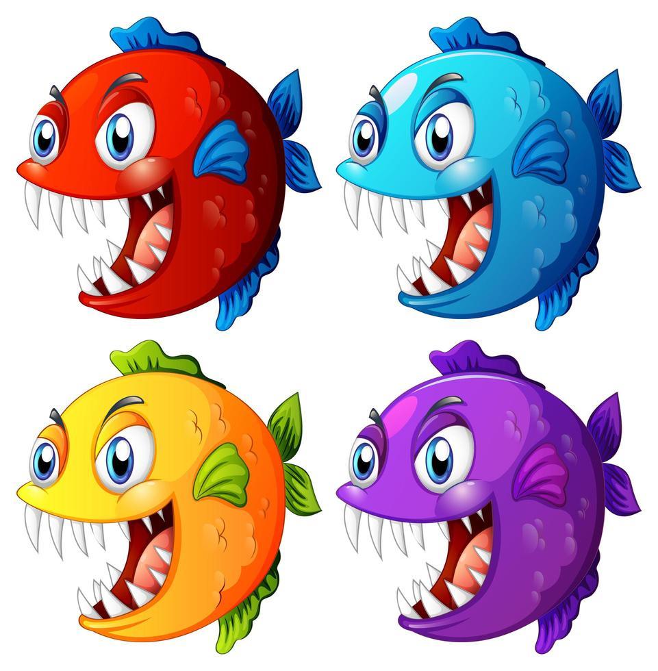 Ensemble de poissons exotiques de couleur différente avec un personnage de dessin animé de grands yeux sur fond blanc vecteur