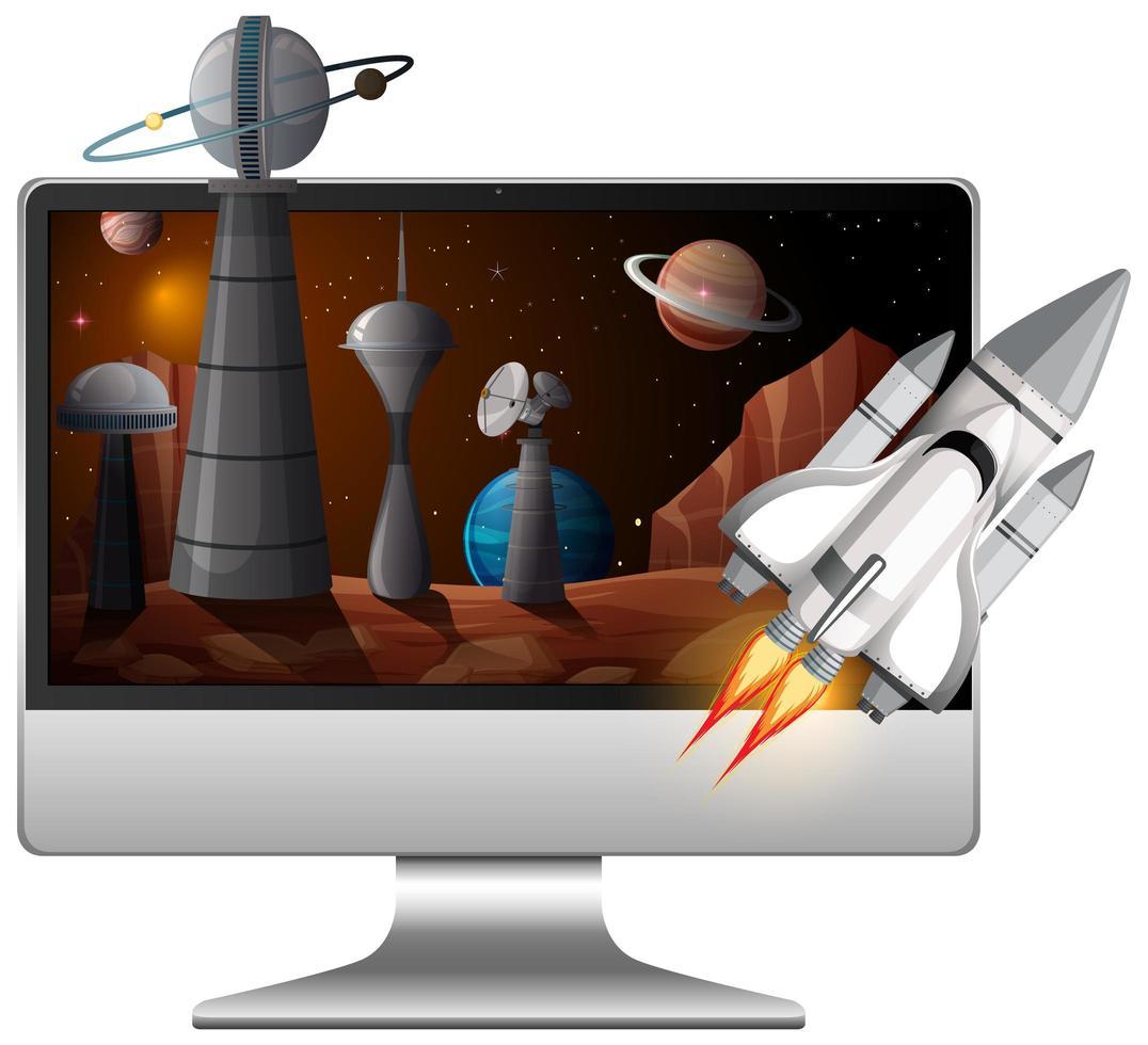 fond de galaxie sur écran d'ordinateur vecteur
