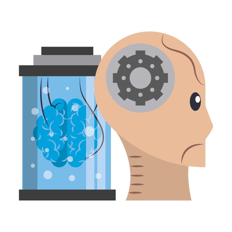 composition de dessin animé de concept dintelligence artificielle vecteur