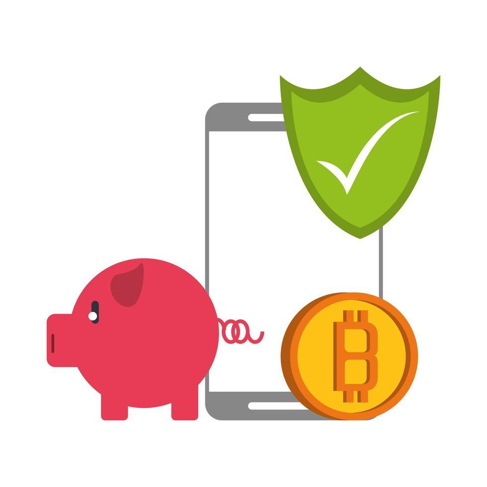 bitcoin, crypto-monnaie et paiement en ligne vecteur
