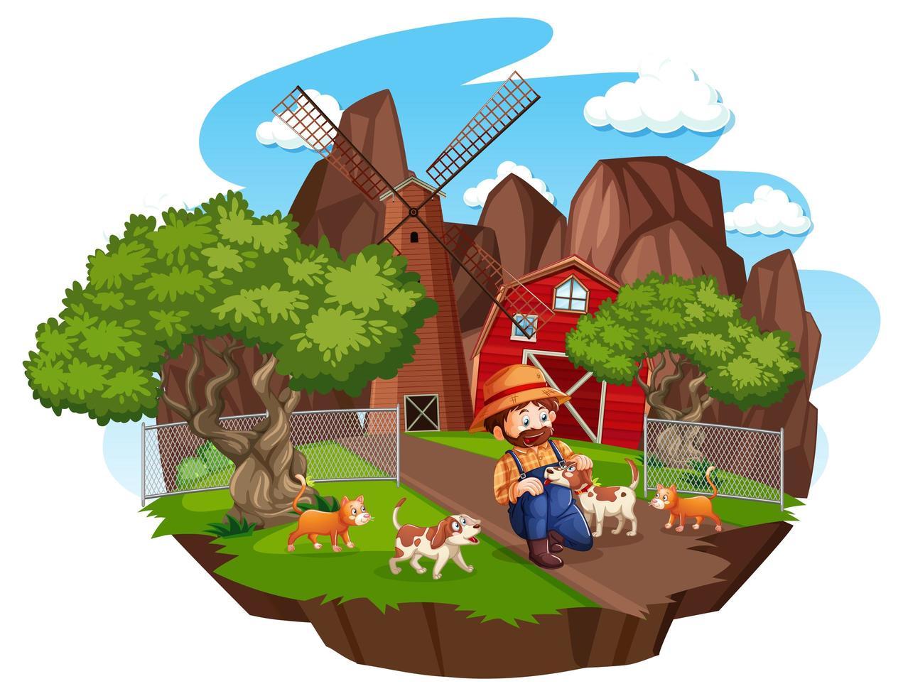 Ferme avec grange rouge et moulin à vent sur fond blanc vecteur