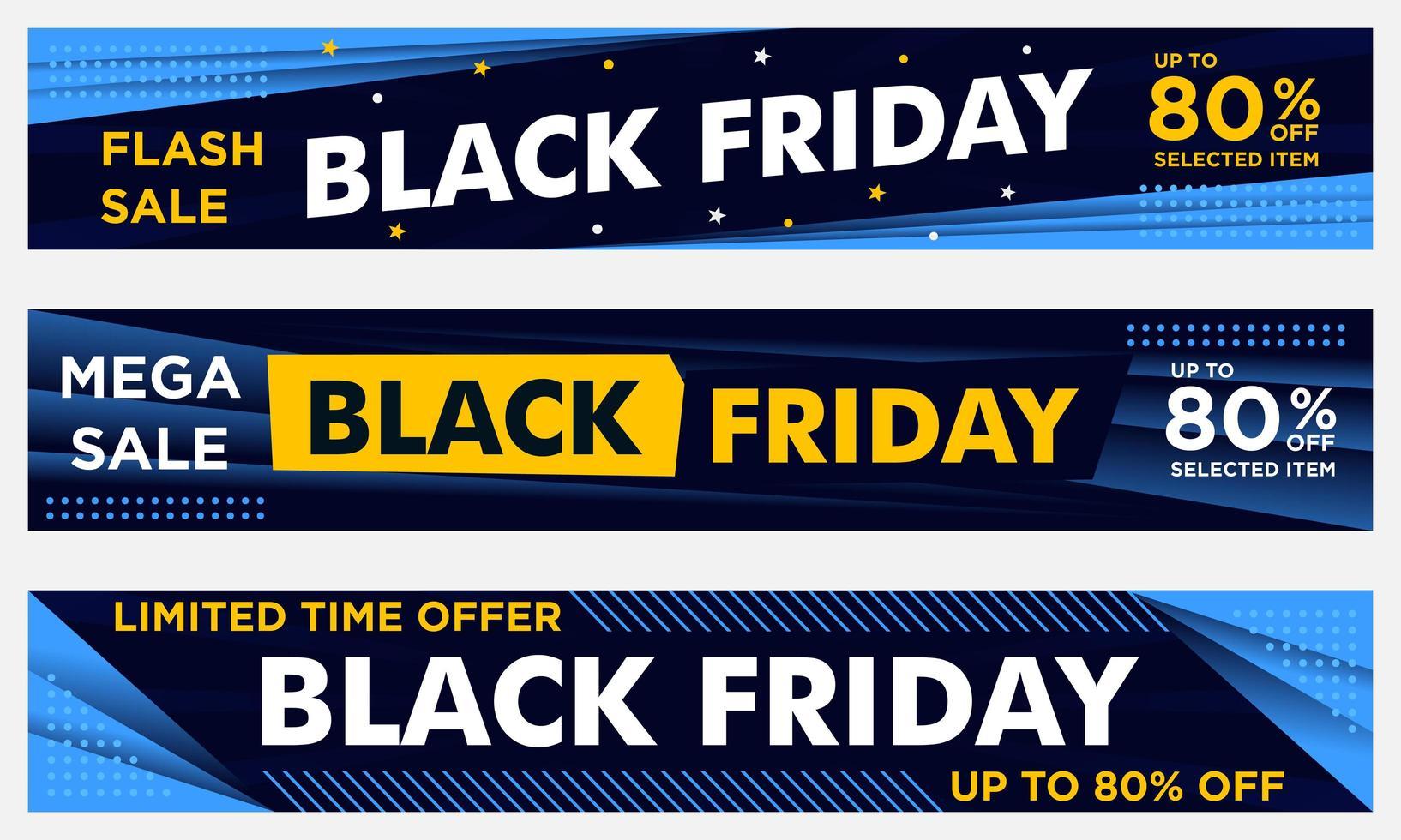 bannières horizontales du vendredi noir en jaune et bleu vecteur