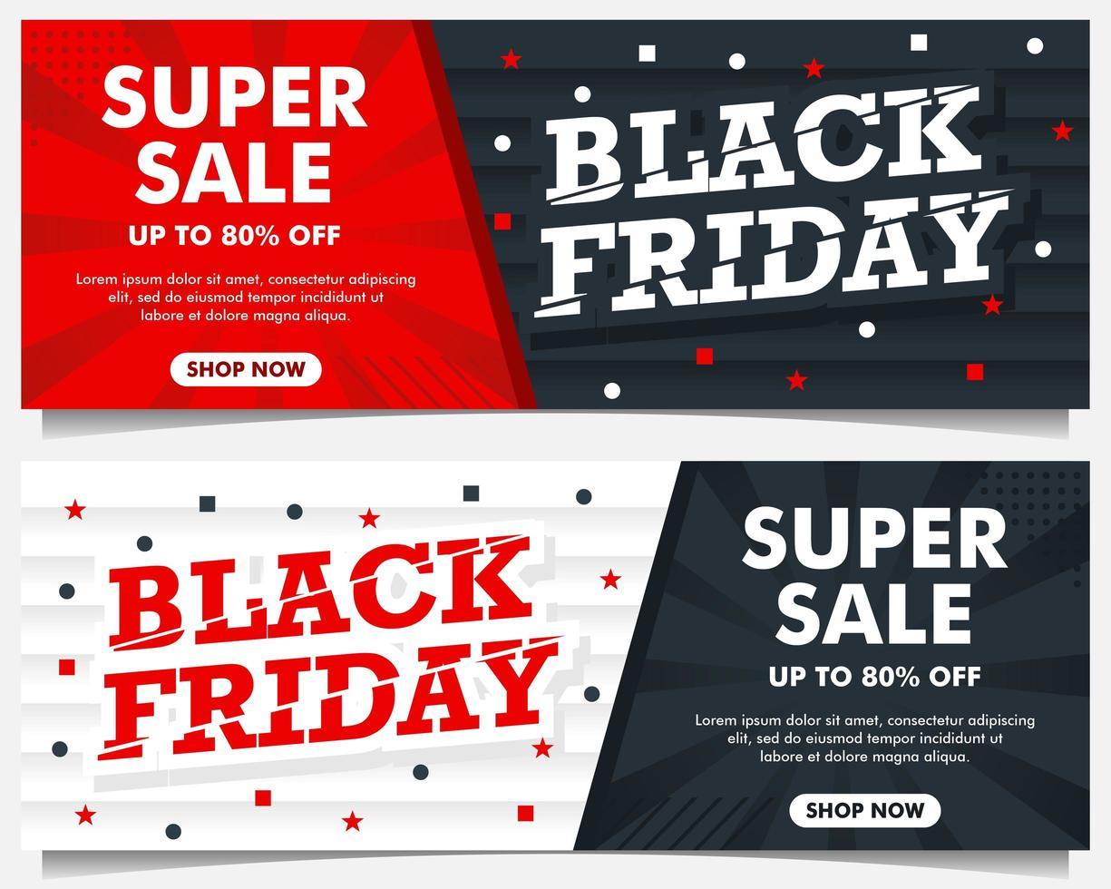 bannières d'événement vendredi noir en rouge, noir et blanc vecteur
