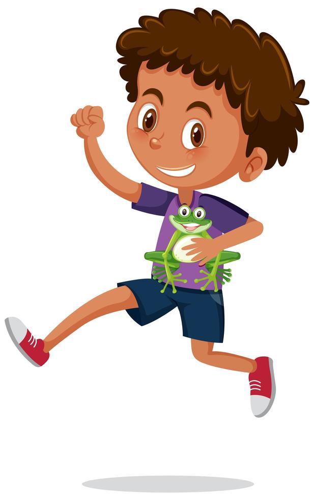 garçon tenant un personnage de dessin animé mignon grenouille vecteur