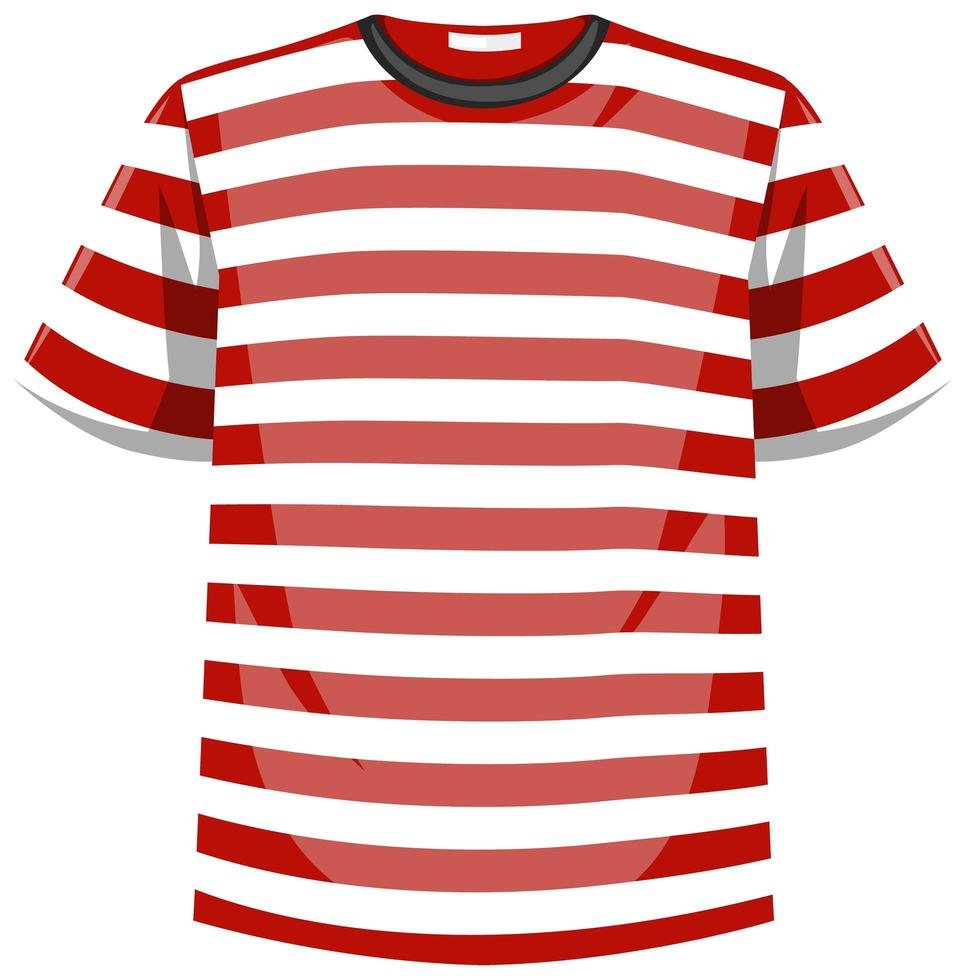 t-shirt à rayures rouges et blanches vecteur