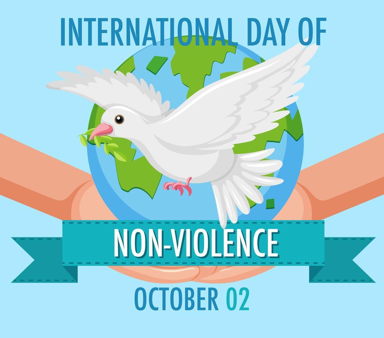 affiche de la journée internationale de la non-violence vecteur