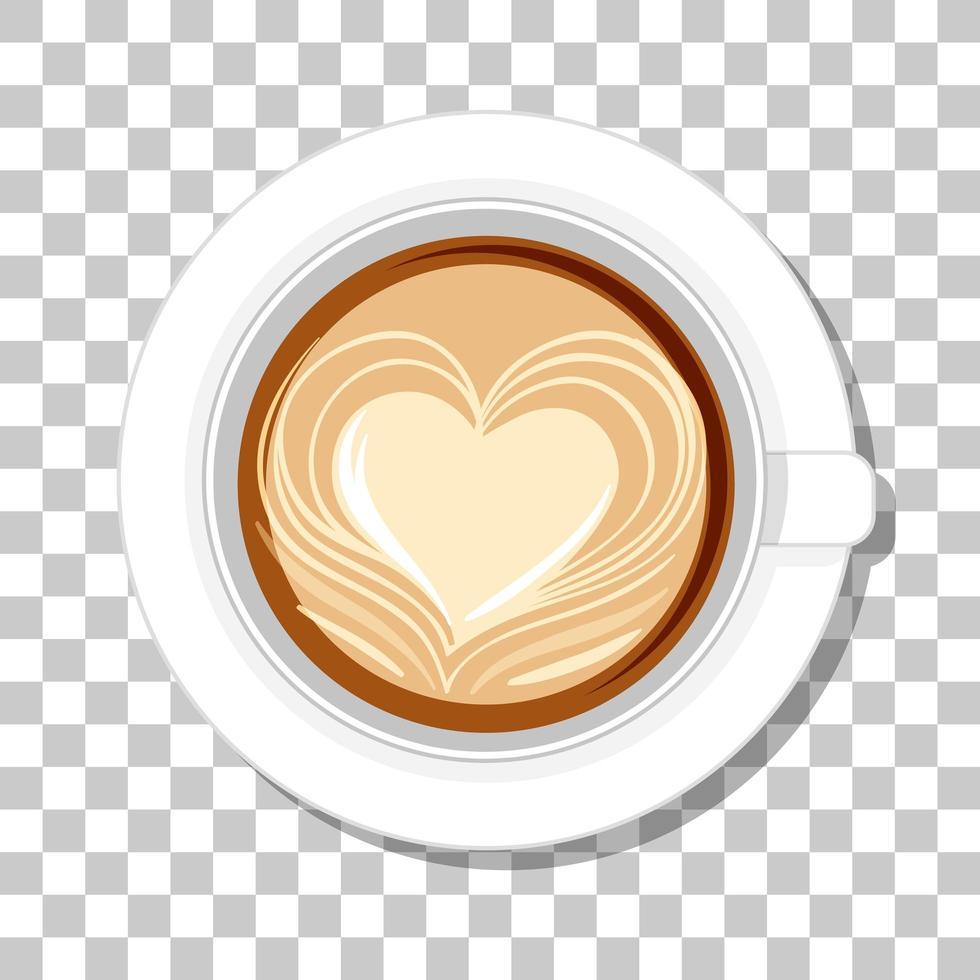 café au lait au coeur dans une vue de dessus vecteur