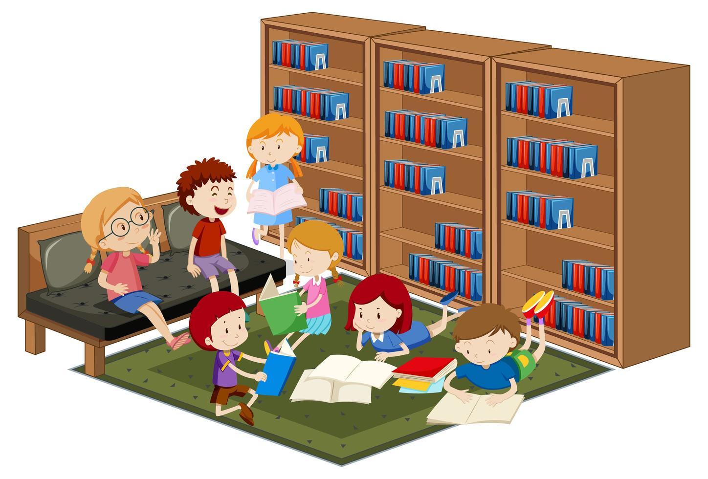 enfants lisant des livres dans la bibliothèque vecteur