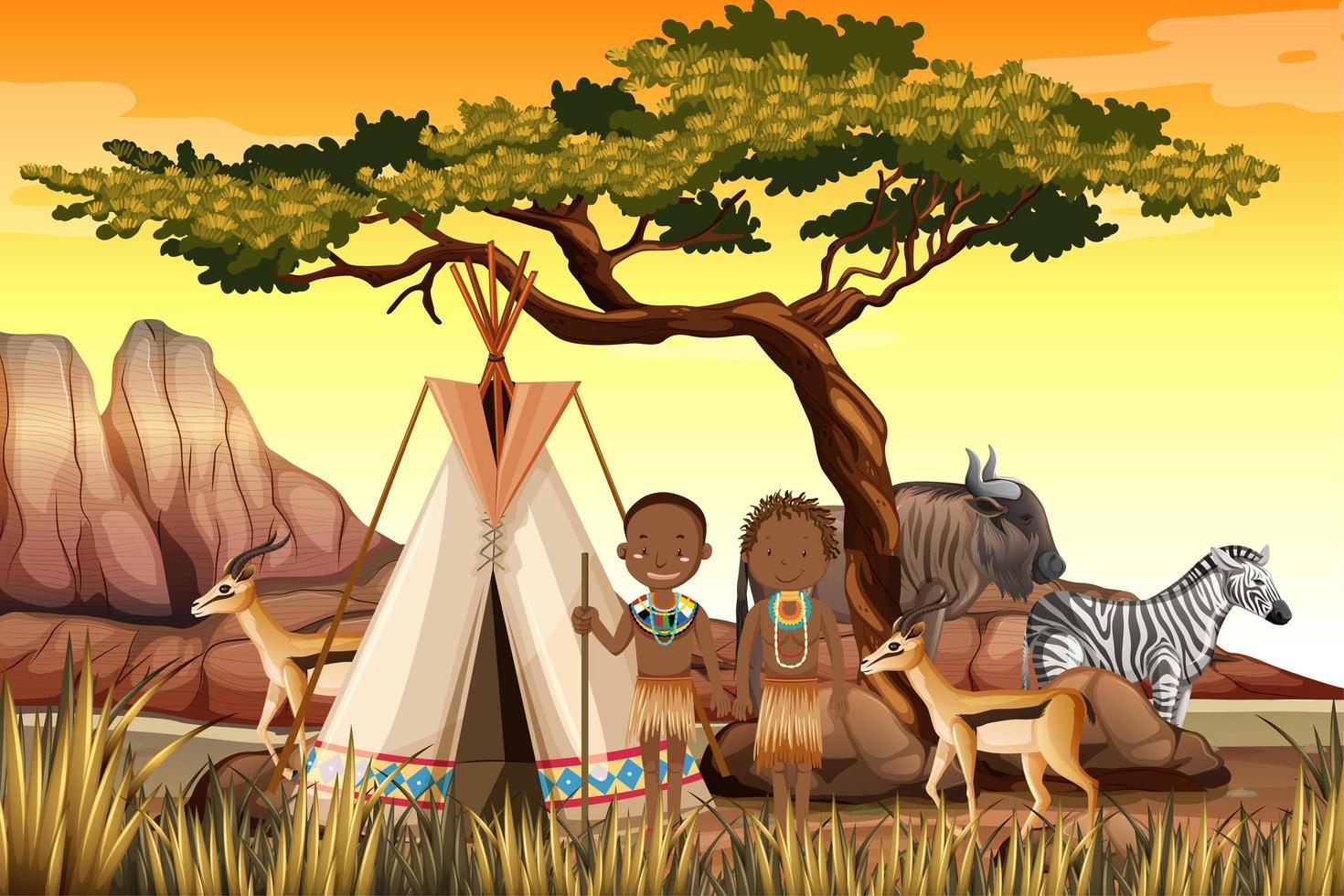 les gens des tribus africaines dans la scène de la nature des vêtements traditionnels vecteur