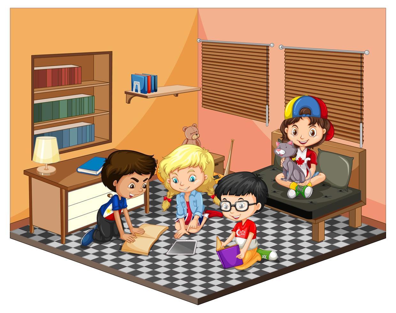 enfants dans la scène du salon vecteur