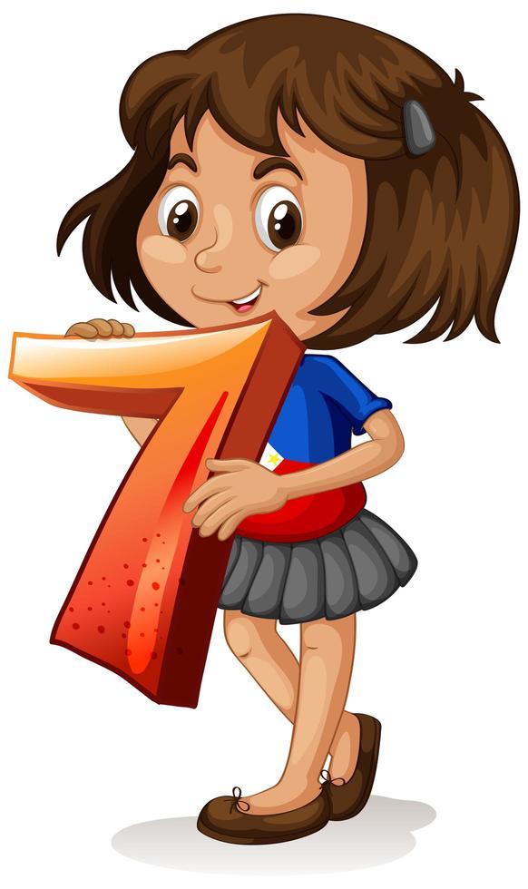 fille tenant le numéro de math sept vecteur