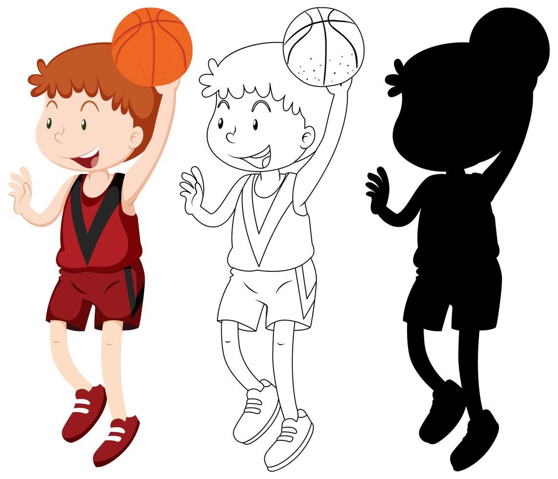basketteur en couleur, contour, silhouette vecteur