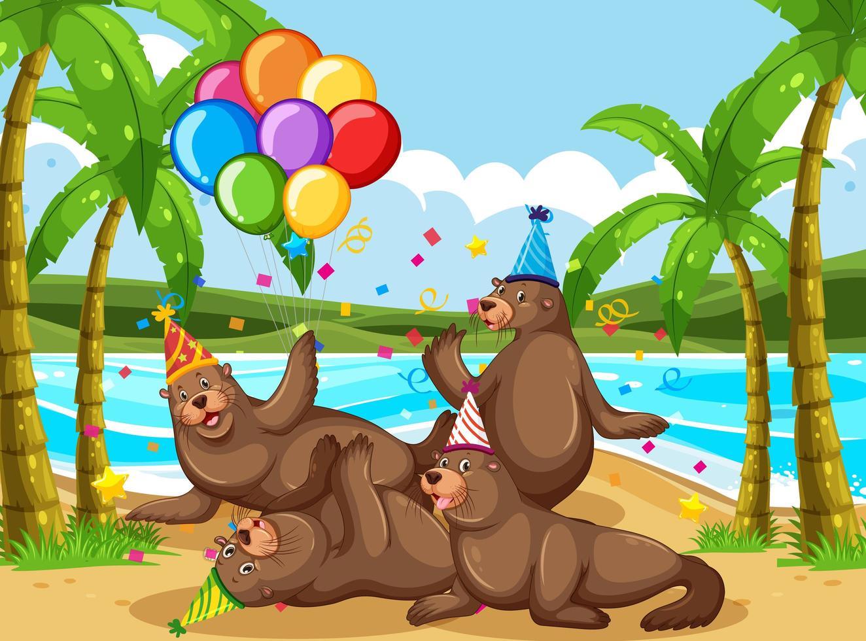 Groupe de phoques dans le thème de la fête sur la plage vecteur