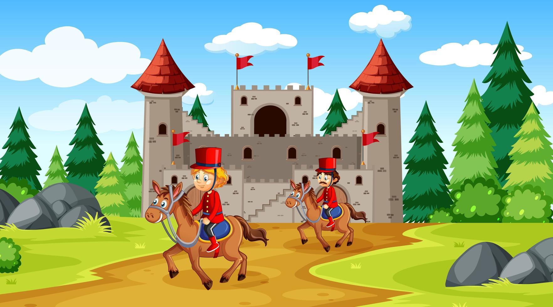 scène de conte de fées avec château et scène de la garde royale de soldat vecteur