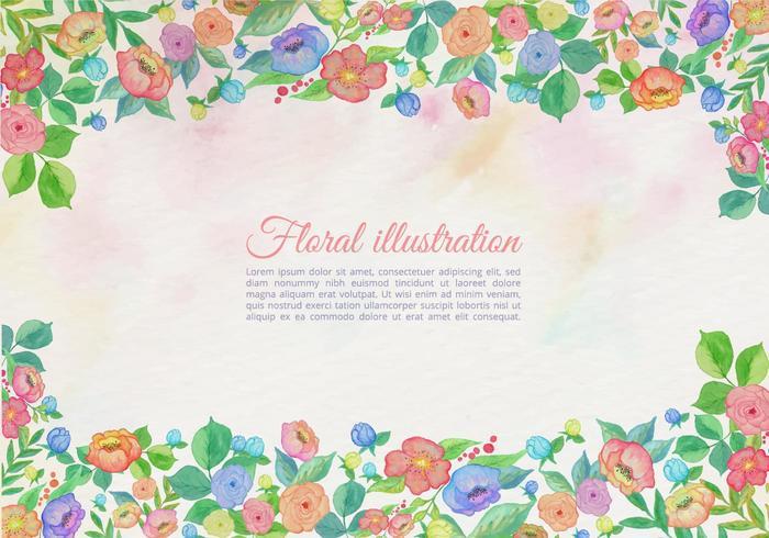 Frontière florale d'aquarelle vectorielle gratuite vecteur