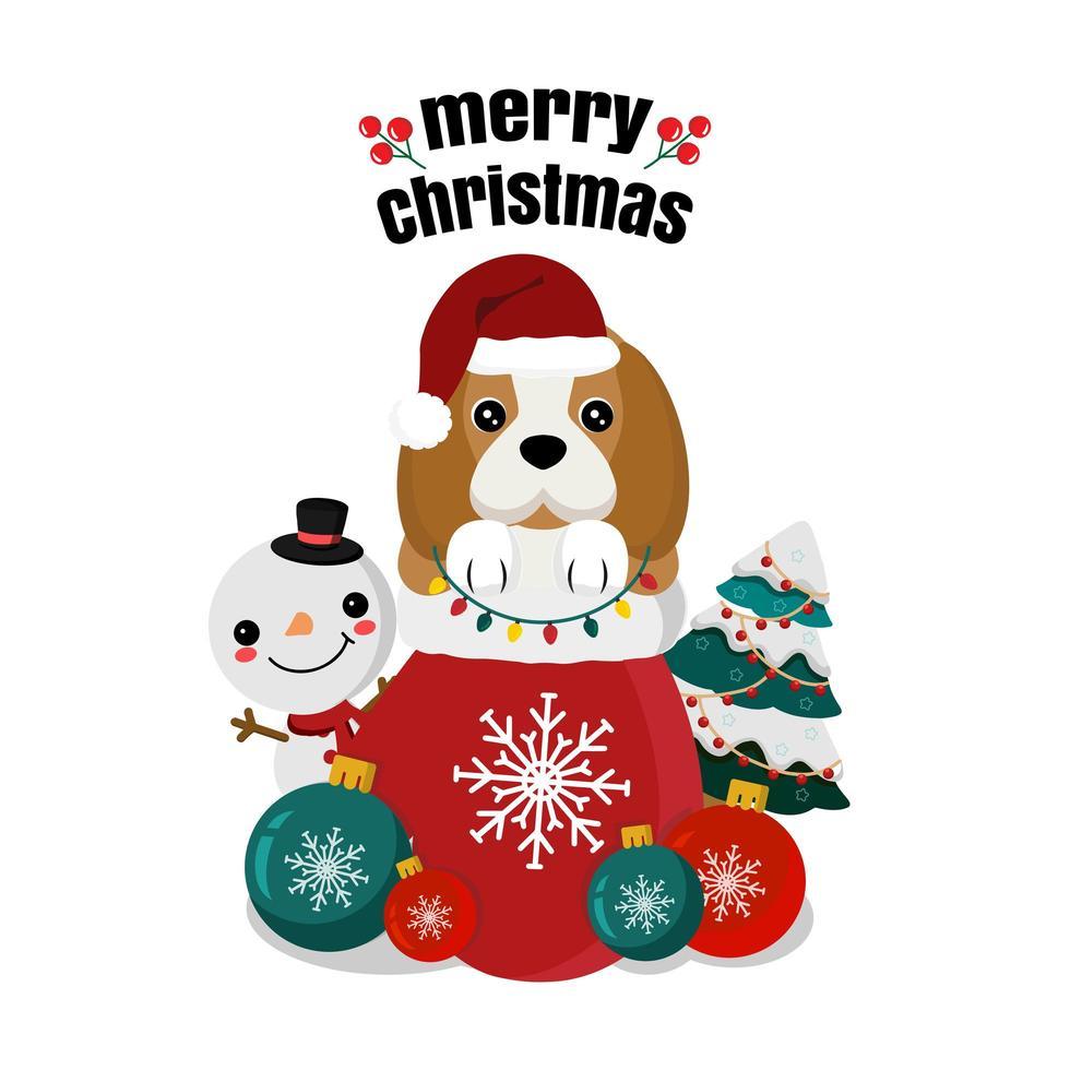 beagle de noël dans un sac avec bonhomme de neige et arbre vecteur