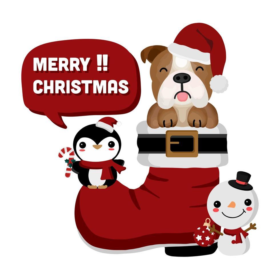 bulldog in santa boot avec bonhomme de neige et pingouin vecteur