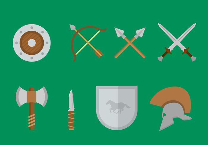 Vecteurs militaires d'armes anciennes plates vecteur