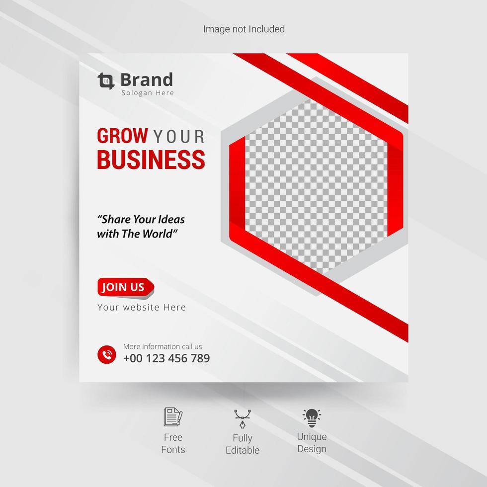modèle de médias sociaux d'entreprise en blanc, gris et rouge vecteur