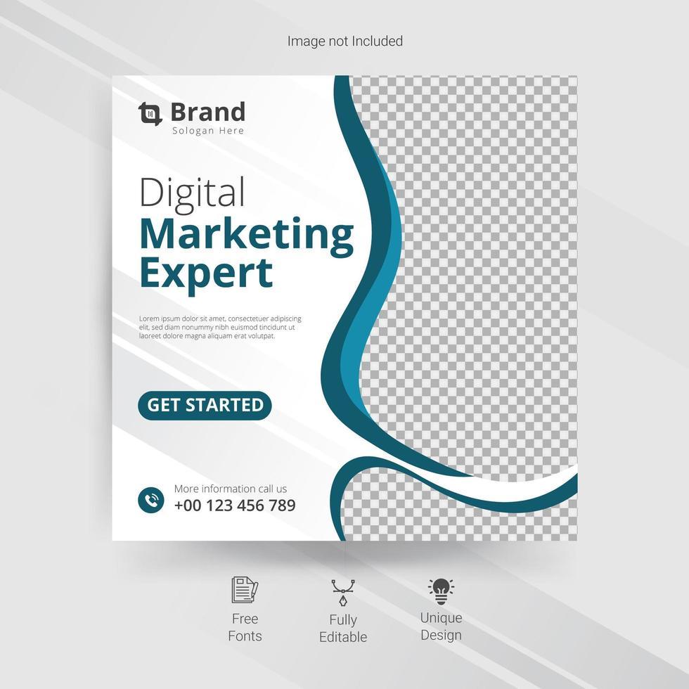 marketing modèle de médias sociaux avec des détails ondulés bleus vecteur