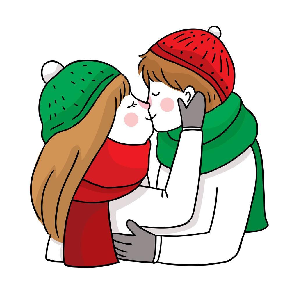 couple de noël dessiné à la main baiser et câlin vecteur
