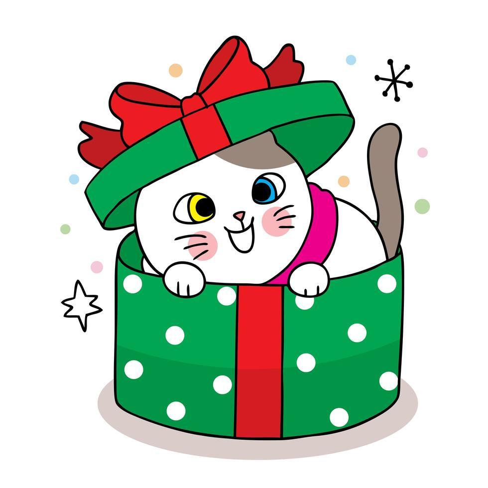 chat de noël dessiné à la main dans une boîte cadeau verte vecteur