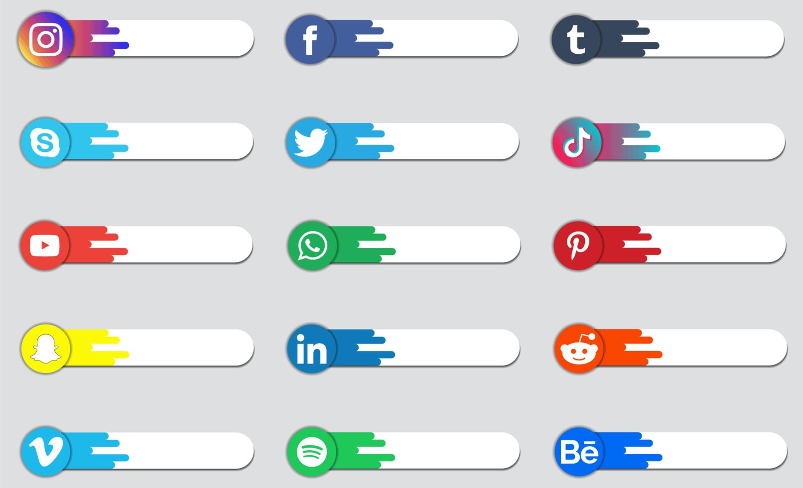 badge de logo de médias sociaux ou collection d'étiquettes vecteur