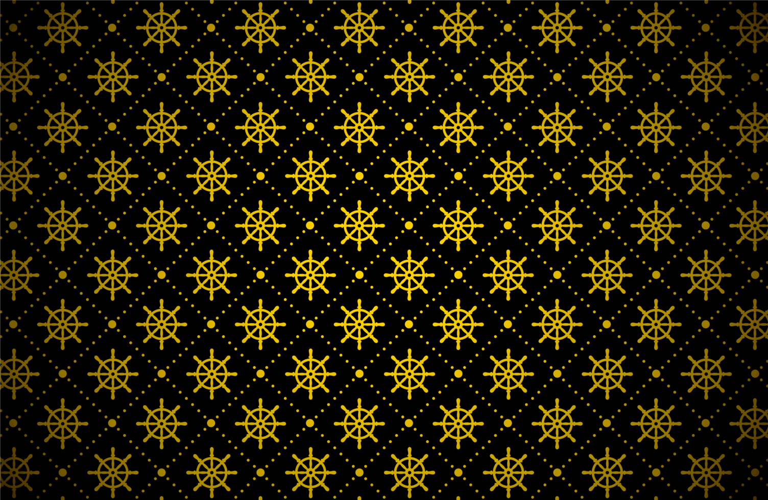 motif de roue de navire doré foncé vecteur