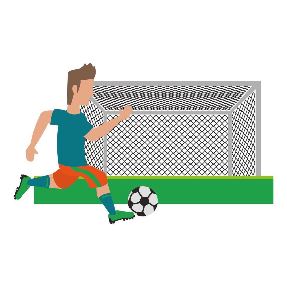 joueur de football de scène sportive vecteur