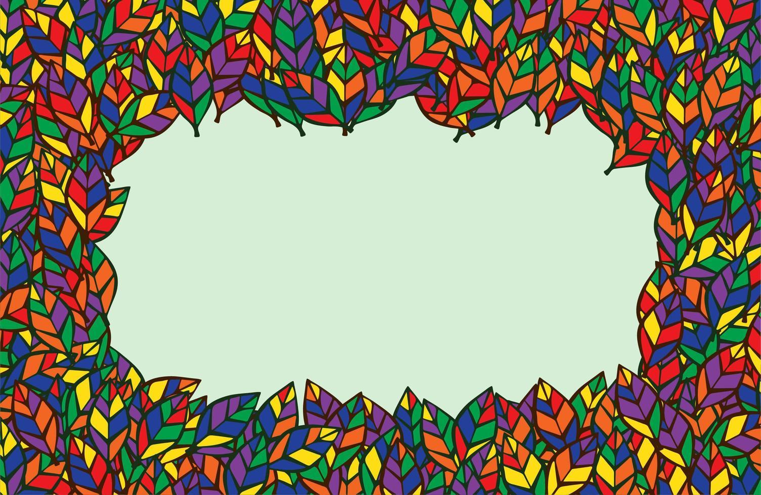cadre de feuilles colorées avec espace de copie vecteur
