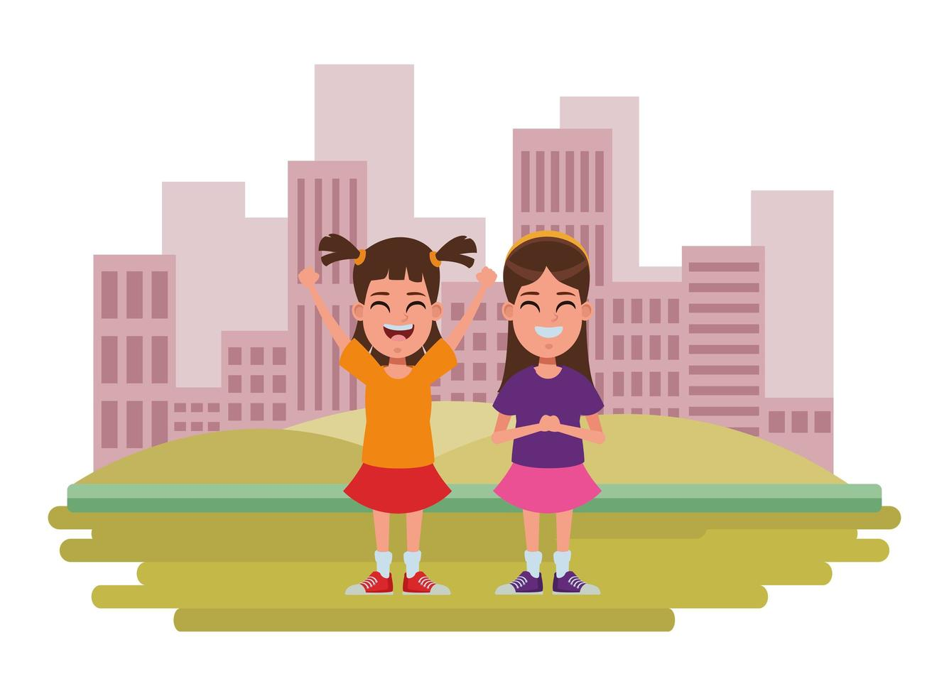 personnages de dessins animés enfants dans la scène de la ville vecteur