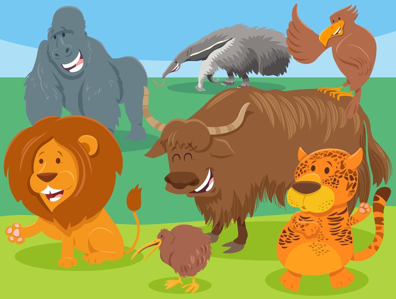 groupe de personnages animaux sauvages de dessin animé drôle vecteur