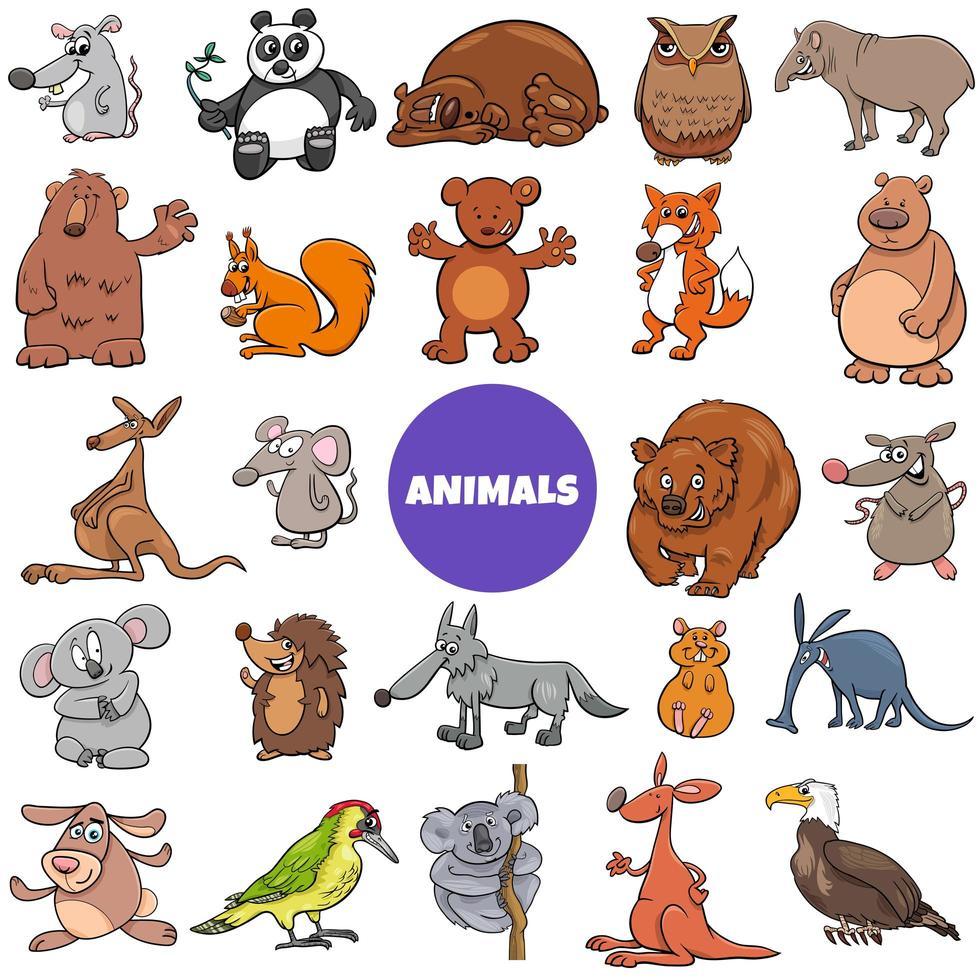 grand ensemble de personnages d'animaux sauvages comiques vecteur
