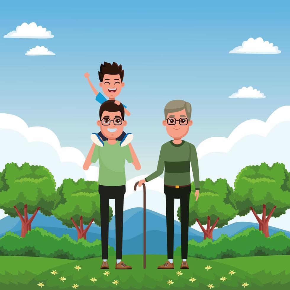 personnages de dessins animés de famille ensemble vecteur