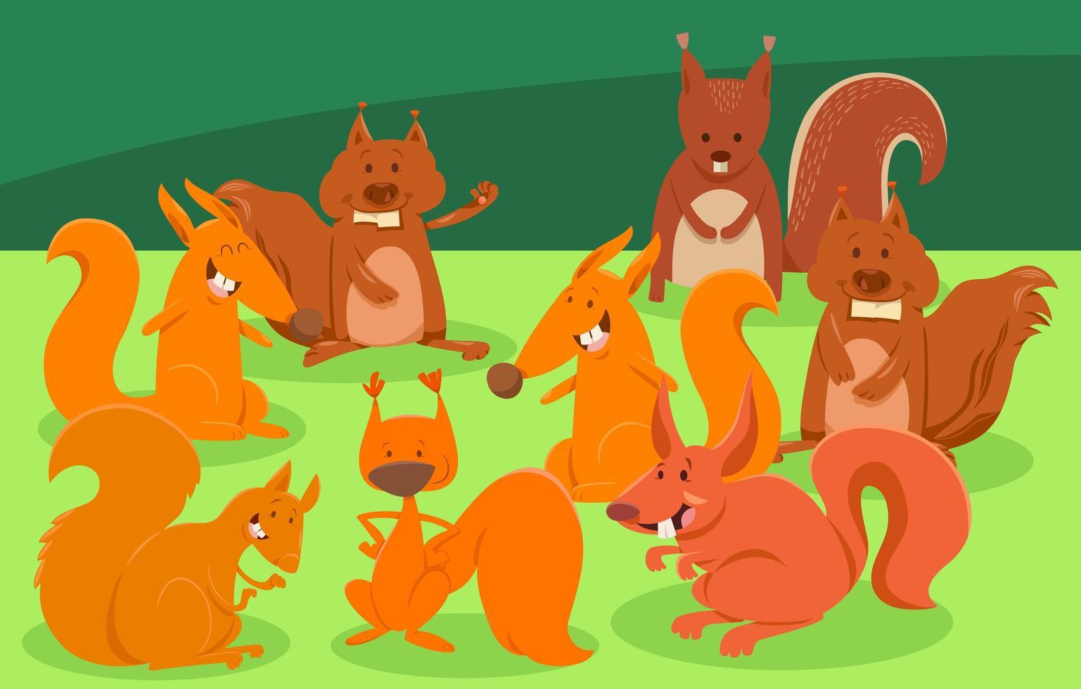 groupe de personnages animaux écureuils de dessin animé vecteur
