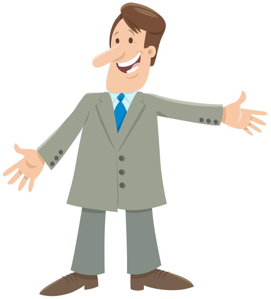 personnage de bande dessinée de dessin animé homme heureux ou homme daffaires vecteur