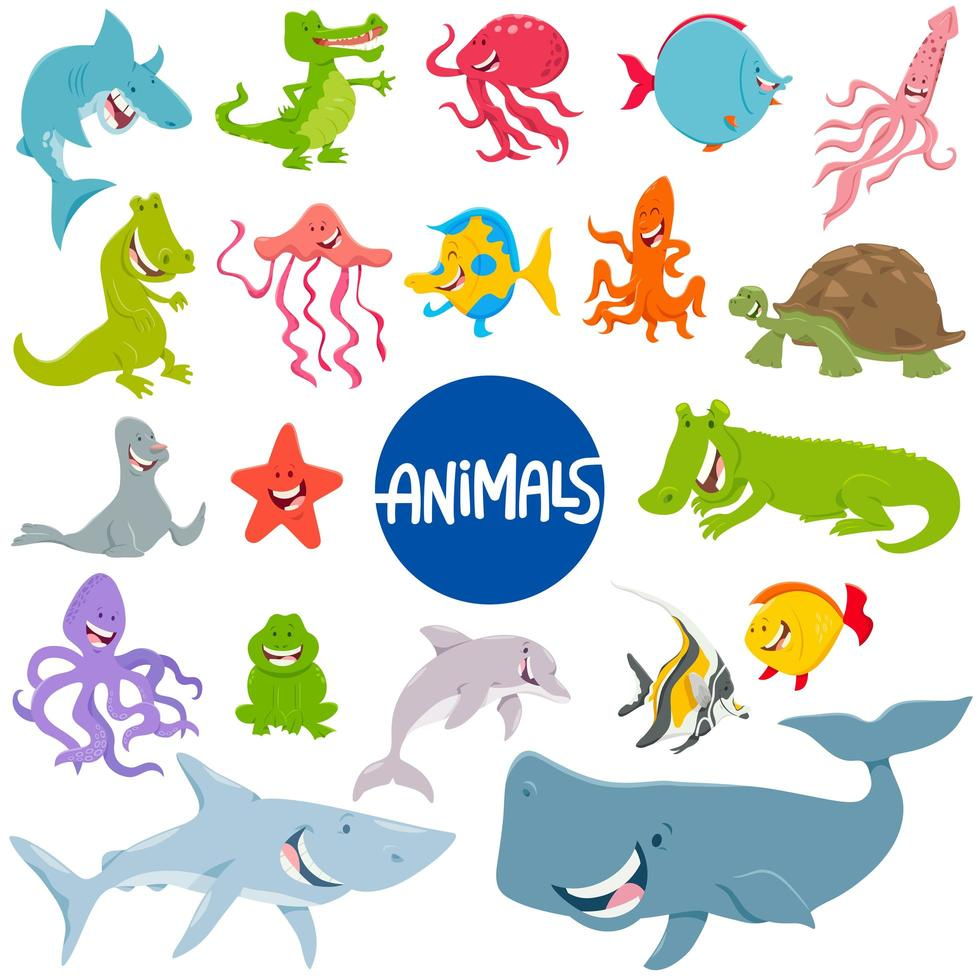 jeu de personnages animaux marins de dessin animé vecteur