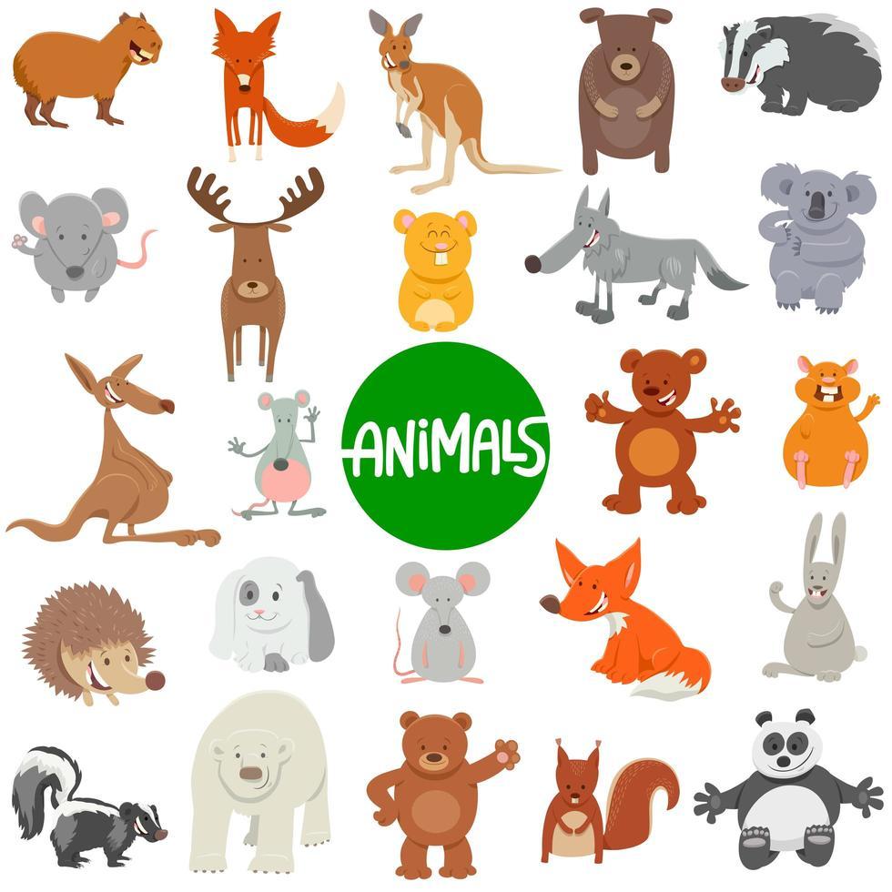 grand ensemble de personnages d'animaux sauvages de dessin animé vecteur