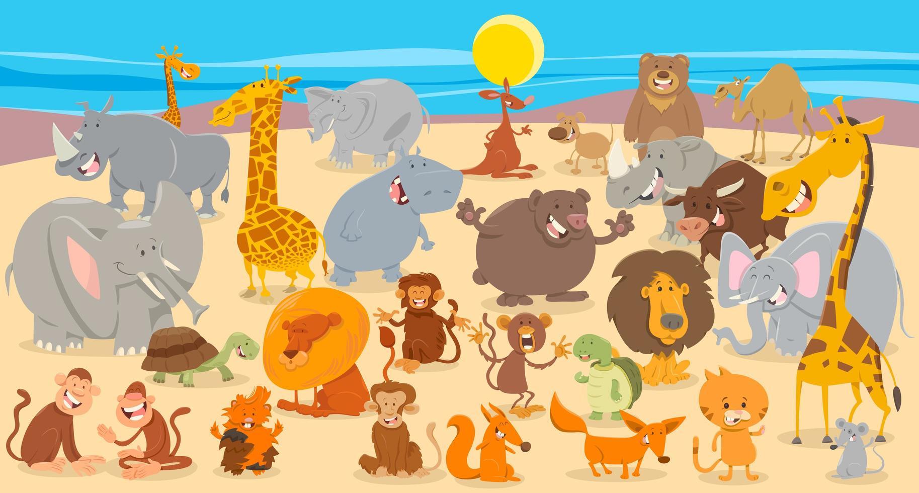 fond de collection de personnages animaux de dessin animé vecteur