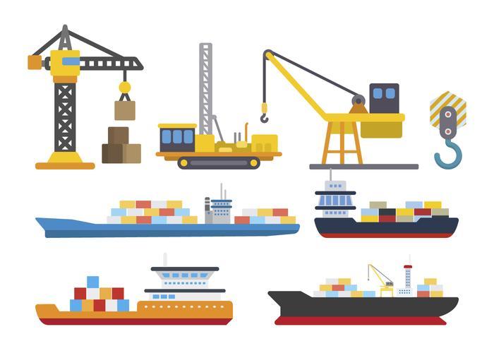 Vecteurs logistiques du chantier naval vecteur
