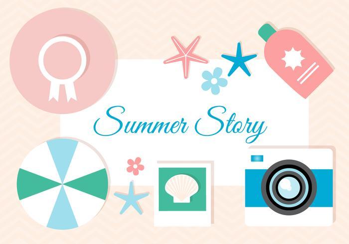 Vecteur de conception plate gratuite histoire d'été