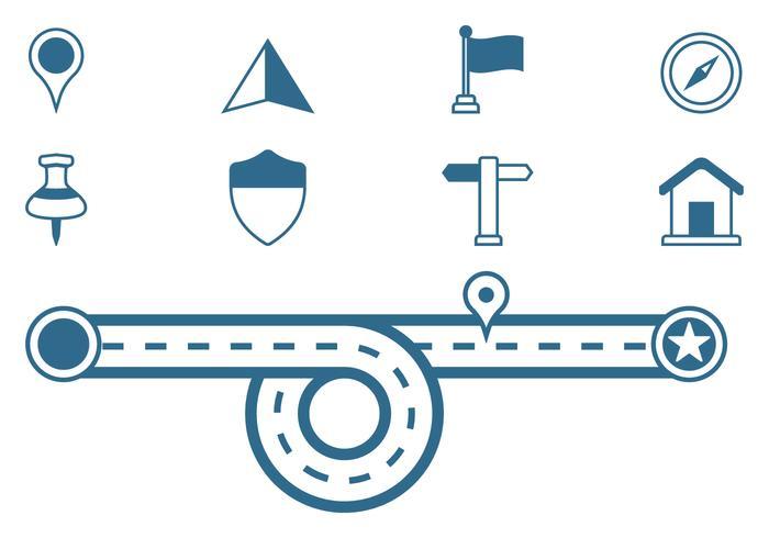 Icônes de signe de feuille de route vecteur