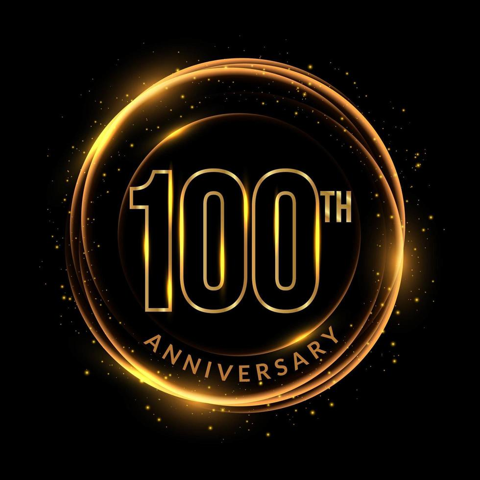 texte du 100e anniversaire doré scintillant dans un cadre circulaire vecteur