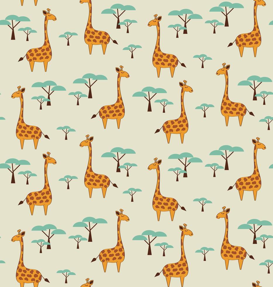 modèle sans couture avec des girafes et des arbres mignons vecteur