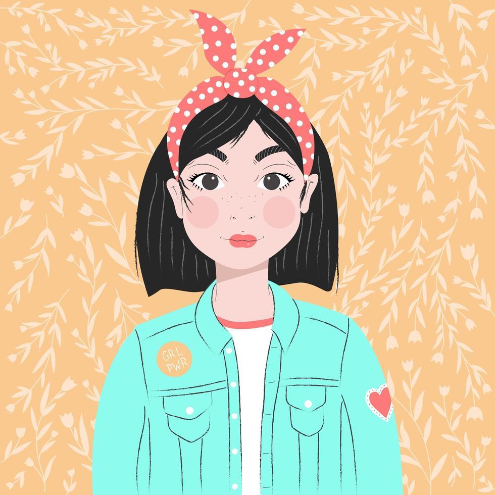 portrait d'une jeune fille aux cheveux noirs vecteur