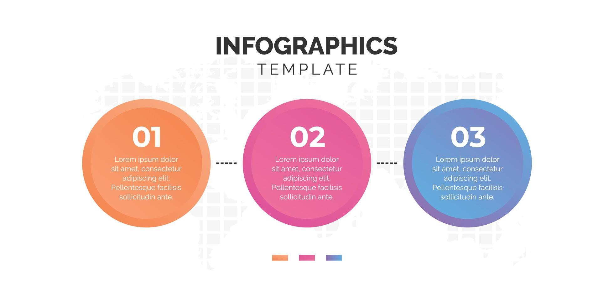 modèle infographique de cercle coloré en trois étapes vecteur